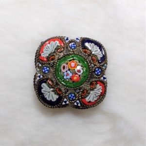 """Vintage Micro Mosaic Brooch Pin Italy Flowers 1"""""""